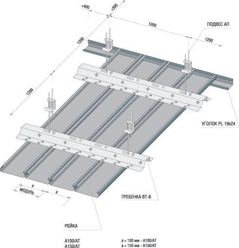 Реечный потолок Омега